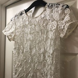 Bisou Bisou white lace blouse. Size small.